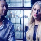 Meghan Trainor & John Legend in the rain.